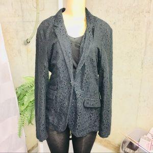 DANA BUCHMAN NWT lace knit one button blazer